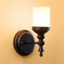 Living Room Cylinder Wall Sconce Metal Single Light American Rustic Black Wall Light