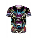 Hot Fashion 3D Tiger Geometric Printed Basic Round Neck Short Sleeve T-Shirt For Men