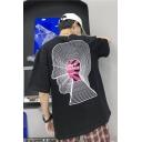 Men's Summer Funny Letter Brain Print Short Sleeve Round Neck Relaxed T-Shirt