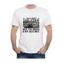 Men's Street Style Funny Letter LIFE IS SHORT Car Print Round Neck Short Sleeve Basic White Casual T-Shirt