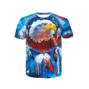 Men's Summer New Trendy 3D Eagle Printed Basic Round Neck Short Sleeve Light Blue T-Shirt