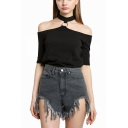 Womens Basic Solid Color Sexy Cold Shoulder Short Sleeve Fitted T-Shirt with Choker