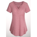 Womens Summer Simple Solid Color V-Neck Short Sleeve Fitted T-Shirt