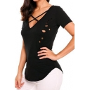 Summer Hot Fashion Simple Plain Crisscross V-Neck Short Sleeve Hollow Out Casual Tee
