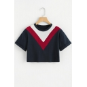 Fashion Chevron Colorblock Round Neck Short Sleeve Navy Cropped T-Shirt