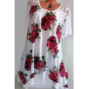 Womens Summer Chic Floral Printed Round Neck Lace Short Sleeve Casual T-Shirt
