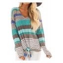 Trendy Colorful Striped Printed V-Neck Long Sleeve Tied Hem Womens Casual Tee