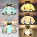 Tiffany Style Dome Flush Light Glass Simple Light Ceiling Light for Living Room Bedroom