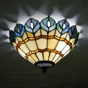 Stained Glass Peacock Tail Flush Light Dining Room 2 Lights Tiffany Style Ceiling Light