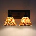 Mosaic Bell Shade Wall Light Shell Glass 2 Lights Sconce Light for Bedroom Living Room