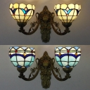 Stained Glass Wall Sconce Bedroom Stair 2 Lights Tiffany Style Bowl Wall Light