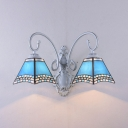 Tapered Bedroom Wall Light Stained Glass 2 Lights Mediterranean Style Sconce Light in Blue