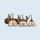 Tiffany Style Antique Bowl Sconce Light Stained Glass 3 Lights Wall Light for Dining Room