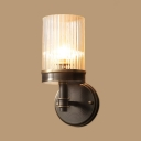 Cylinder Foyer Hallway Sconce Light Metal Clear Glass 1 Light American Rustic Wall Light