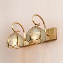 Elegant Style Melon Sconce Light Metal 2/3 Lights Brass Wall Lamp for Bathroom Dining Room