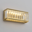 Crystal Rectangle Wall Light Dining Room Traditional Brass Sconce Light in White/Warm