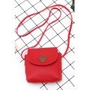 Simple Plain Button Embellishment Mini PU Leather Crossbody Phone Wallet