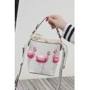 Hot Fashion Flamingo Pattern Crossbody Bucket Bag 16*12*16 CM