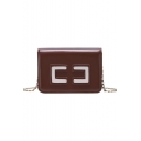Stylish Color Block Patched Long Chain Square Crossbody Bag 18.5*7*13 CM