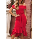 Women's Summer New Chic Simple Plain Off the Shoulder Tied Waist Ruffled Hem Fishtail Midi Dress for Party