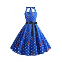 Summer's Floral Polka Dot Printed Sleeveless Halter Bow-Tied Waist Midi A-Line Blue Dress