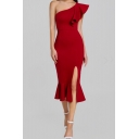 Women's Sexy Trendy Ruffle One Shoulder Sleeveless Plain Pattern Midi Bodycon Slit Dress