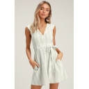 Summer Women's Fashion Stripe Printed V-Neck Sleeveless Cutout Back Tie Waist Mini A-Line White Dress