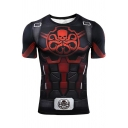 Hydra Cool Skull Snake Logo Printed Round Neck Short Sleeve Fitness Black T-Shirt for Men