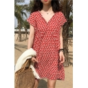 Girls Summer Fashionable Leaf Printed V-Neck Short Sleeve Mini A-Line Red Chiffon Dress