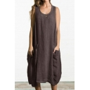 Women's Loose Plain Printed Scoop Neck Sleeveless Button Detail Midi Tank Linen Dress With Pockets