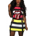 Summer Color Block Stripe Lip Printed Round Neck Short Sleeve Ribbon T-shirt Dress