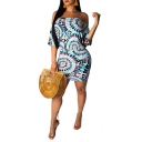 Summer Blue Tie Dye Printed Off the Shoulder Mini Bodycon Dress