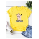OH MY GOD Cartoon Pig Printed Basic Short Sleeve Round Neck Cotton Loose Tee
