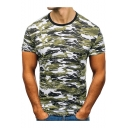 Cool Camouflage Print Contrast Trim Round Neck Short Sleeve Slim Fit Tee for Men