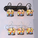 Tiffany Style House Shade Wall Light 3 Lights Stained Glass Wall Sconce for Dining Room