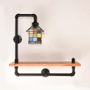 Tiffany Style House Sconce Light with Shelf Stained Glass 1 Light Wall Light for Study Room