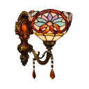 Tiffany Style Victorian Wall Light with Flower 1 Light Stained Glass Sconce Light with Crystal for Stair