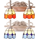 Dome Bathroom Sconce Light Stained Glass 2 Lights Tiffany Style Wall Lamp in Blue/Orange