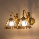 Dragonfly Sconce Light with Mermaid 2 Lights Antique Style Stained Glass Wall Light for Foyer