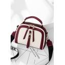 New Fashion Color Block Zipper Embellishment Letter Strap Top Handle Crossbody Bag 22*11*17 CM