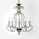 American Rustic White Candle Chandelier 3/4/5 Lights Metal Light Fixture for Dining Room Foyer