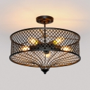 5 Lights Drum Hanging Light Vintage Metal Chandelier Lamp in Black for Dining Room