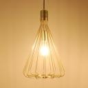Metal Caged Pendant Lighting Kitchen Single Light Vintage Copper/Gold Hanging Light