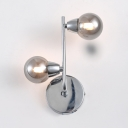 Metal Globe Wall Lamp 2/4 Lights Industrial Wall Sconce in Chrome for Dining Room