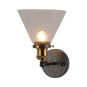 Glass Cone Shape Wall Lamp Study Hallway Single Light Industrial Wall Light Fixture