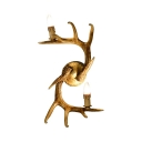 Bedroom Dining Room Antlers Sconce Wall Light Metal 2 Lights Rustic Brass Wall Lamp