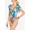 New Stylish Colorblock Ruffled Hem Lace-Up Plunged Neck Blue One Piece Swimsuit for Women