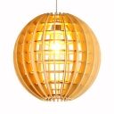 Coffee Shop Bar Globe Ceiling Light Bamboo Rustic Style Single Light Hanging Light Fixture in Beige