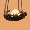 Rustic Style Globe Rattan Shade Hanging Fixture 1/3-Light Ceiling Lighting for Bedroom with Bird Nest Design