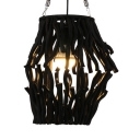Restaurant Curved/Tapered Hanging Lamp Bamboo Country Style Black Ceiling Light Fixture